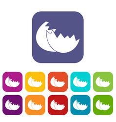 Egg shell icons set vector