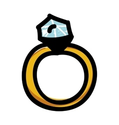 engagement ring cartoon icon image vector image