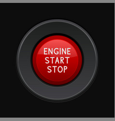 Engine start stop button red car dashboard vector