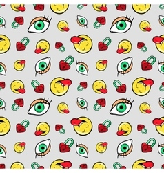 Eyes Heart Locks and Emoticons Seamless Pattern vector image