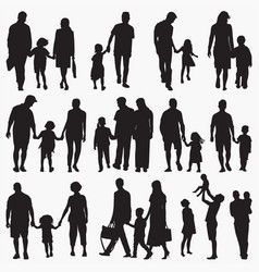 family 2 silhouettes vector image