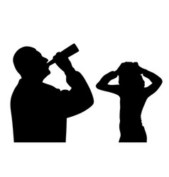 Father drinking alcohol scared child holding head vector