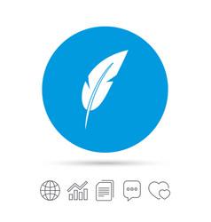 feather sign icon retro pen symbol vector image