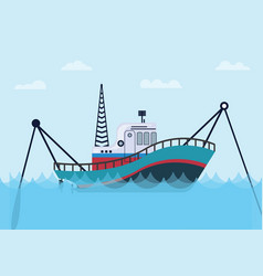 Fishing boat on the sea with blue ocean and flat vector