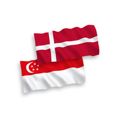 Flags denmark and singapore on a white vector