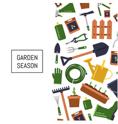 Flat gardening icons background vector