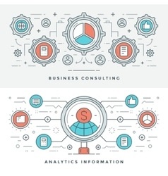 Flat line Business Consulting and Analytics vector