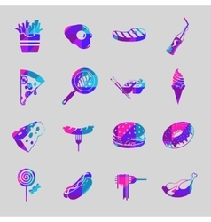 Food colorful icon set vector