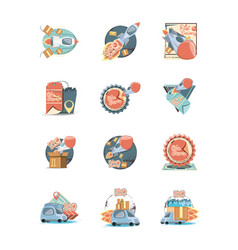 food delivery service set icons icon vector image