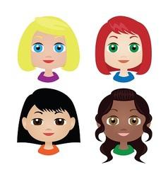 Girls faces vector