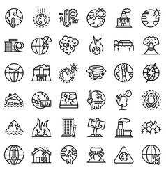 global warming icons set outline style vector image