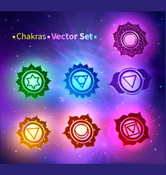 Glowing chakras vector