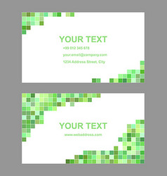 Green geometric business card template set vector