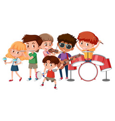 group of children playing music instruments vector image