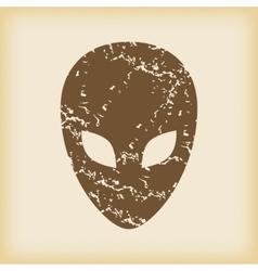 Grungy alien icon vector