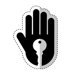 Hand human with key silhouette icon vector