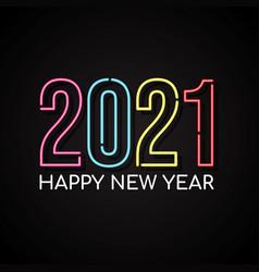Happy new year 2021 neon style vector