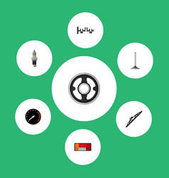 icon flat component set of spark plug crankshaft vector image