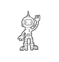 icon of cosmonaut boy in space suit vector image