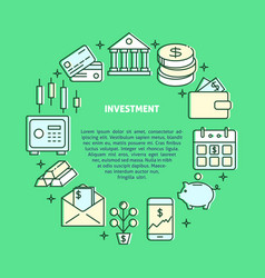 investment and money round concept in colored line vector image