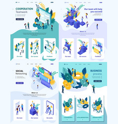 Isometric cooperation teamwork business process vector