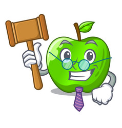 Judge green smith apple isolated on cartoon vector