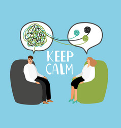 Keep calm psychiatrist listening and counseling vector