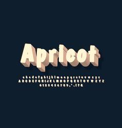 Kids alphabet 3d white brown text effect or font vector