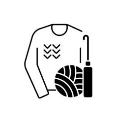 Knitwear alteration and repair black linear icon vector