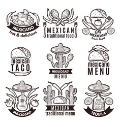 label set with traditional mexican symbols food vector image