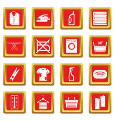 Laundry icons set red vector