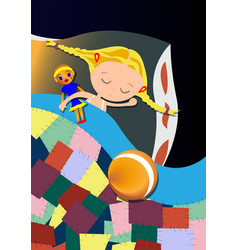 little girl sleeping hugging a toy vector image