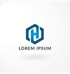 logo design with combination letter h and hexagon vector image
