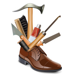 Male brown shoe with shoemaker tools vector