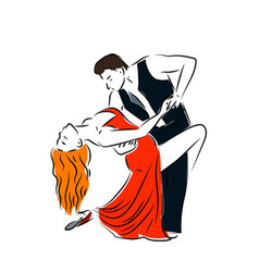 man and woman dancing couple tango retro line art vector image