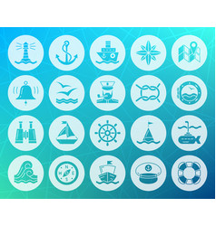 Marine shape carved flat icons set vector