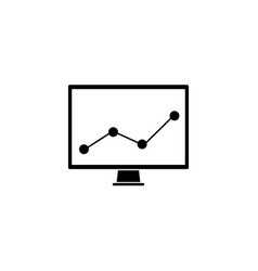 Market monitoring solid icon computer analysis vector