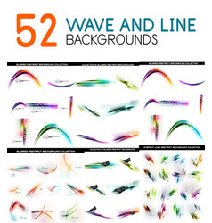 Mega collection of color blurred waves and vector