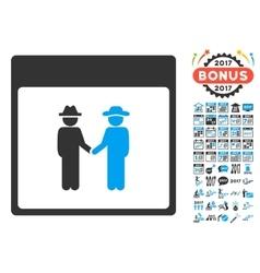 Men Handshake Calendar Page Flat Icon With vector
