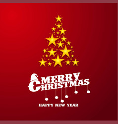 merry christmas yellow star red background vector image