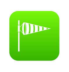 Meteorology windsock inflated by wind icon digital vector