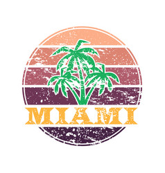 miami colorful label vector image