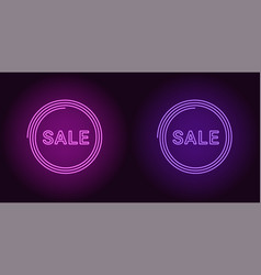 neon icon of purple and violet sale badge vector image
