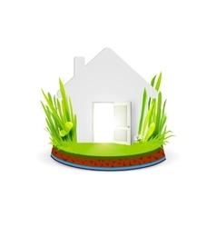 Paper home with open door vector