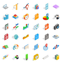 pencil icons set isometric style vector image