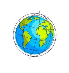 planet earth isolated on white background america vector image