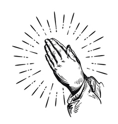 Prayer Sketch praying hands vector image