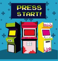 Press start vintage arcade design vector