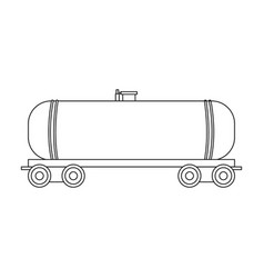 railway tank caroil single icon in outline style vector image