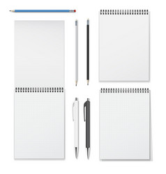 Realistic set vertical spiral notebooks vector